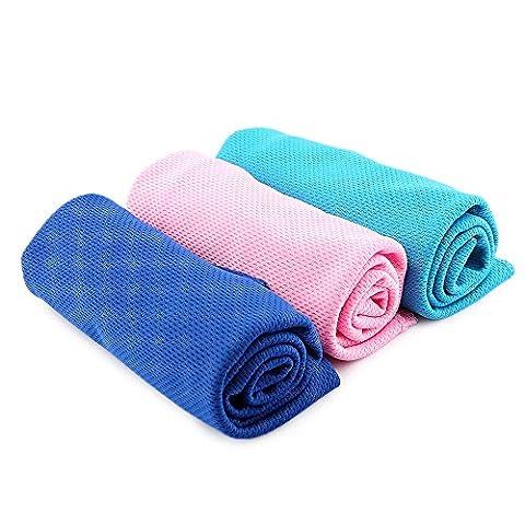 ranipobo Lot de 3serviette de refroidissement Multi Fonction Sports d'extérieur la transpiration d'été Glace Froid Serviettes 89,9x 36,6cm (Bleu ciel, Bleu Foncé, rose)