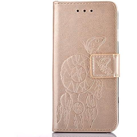 Meet de d'oro Per Samsung Galaxy S6 PU Pelle Case, (Campanula) rilievo Samsung Galaxy S6 Custodia / Flip Cover Pelle Stand / Cover Shell / Protettiva Caso / Cover / Protezione / Copertura / Flip Cover Pelle Stand Custodia in pelle con supporto Per Samsung Galaxy S6