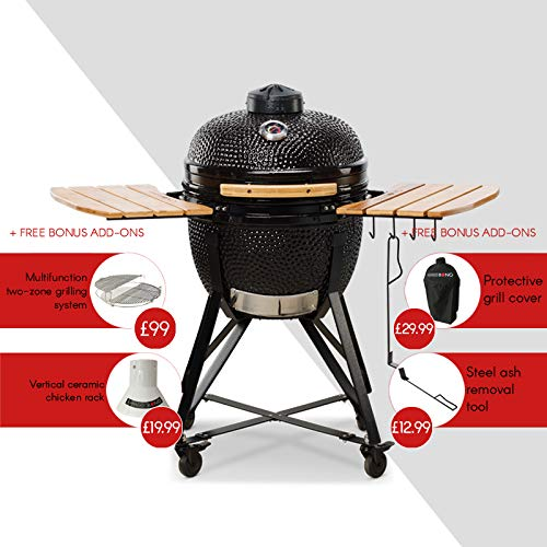 Kamado BONO Media, classic 20 Inch Kamado BBQ smoker, oven and grill with main accessories included