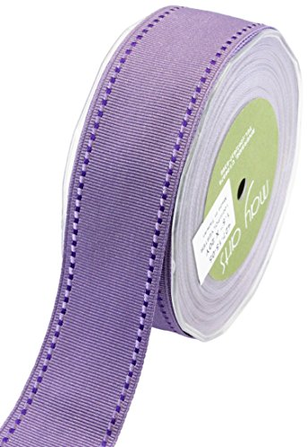 May Arts Band 3,8 cm genäht Rand Ripsband, Lavendel/Violett, 20 Yard - Print-haar-band