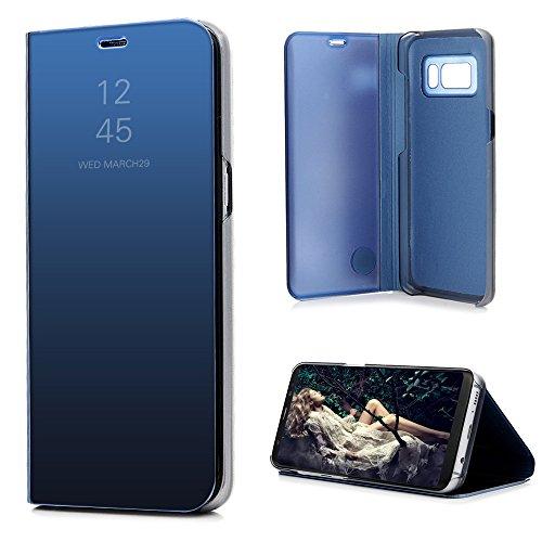 Cover per Samsung Galaxy S8 Plus Flip, Custodia a Specchio Libro Pelle PU e PC Plastica con Funzione Supporto Portafoglio Libretto Bumper Case per Samsung Galaxy S8 Plus - Blu