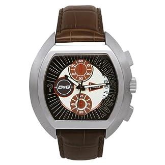 D&G Dolce&Gabbana DW0213 – Reloj cronógrafo de caballero de cuarzo con correa de piel marrón (cronómetro) – sumergible a 50 metros