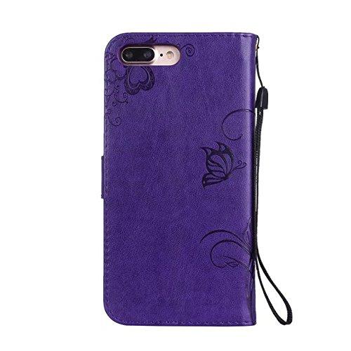 Hülle für iPhone 7 plus , Schutzhülle Für IPone 7 Plus, Horizontale Bookstyle Flip Case Premium PU Ledertasche, Solid Color Embossed Blumen Schutzhülle Tasche Tasche mit Lanyard & Stand ,hülle für iPh Modena
