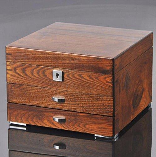 QPSSP Antike Schmuckkästchen Schmuckkästchen Alte Ulme Angepasste Hardware - Reine Holz - Schatulle - Box,B - 7