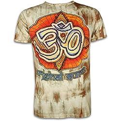 Sure Clothing Camiseta Hombre La Magia de los Om Talla M L XL Batik Natural Budismo Yoga Boho Hinduismo Namaste (L, Marrón)