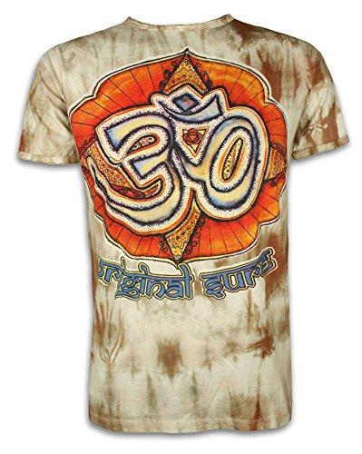 SURE Herren T-Shirt Die Magie des Om Buddhismus Hinduismus Batik Yoga Zeichen (Braun L)