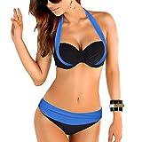 Uskincare Bikini et Maillot de Bain Deux Piece Taille Bas /Haute de supérieure Qualité Agrandissant Pour Femme (Large, Bleu foncé et noir)