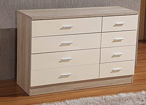 Gladini High Gloss 8 Drawer - Chest of Drawers (4+4) (Cream/Oak)