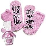 """Pinke Wein Socken """"If You can read this bring me some wine"""" Lustige Socken Geschenk für Frauen - Geschenk Wein-Zubehör für Weinliebhaber Geburtstagsgeschenk Frauen, Freundin, Weihnachtsgeschenk"""