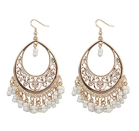 HugeStore Women Ladies Summer Bohemia Tassel Beads Chandelier Drop Earrings