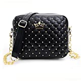 Yuan Clearance Women Messenger Bags Rivet Chain Shoulder Bag Leather Crossbody Handbag