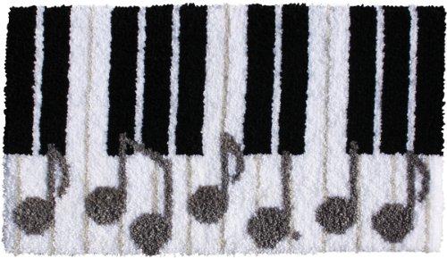 "Teppich Knüpf Set ""Piano Tasten"" ca. 77 x 43 cm, inkl. Leinenvorlage mit Motiv, Knüpfgarn, bebildert"