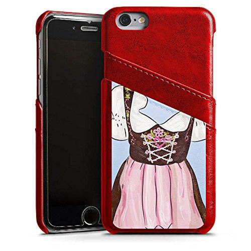 Apple iPhone X Silikon Hülle Case Schutzhülle Oktoberfest Muster Dirndl Leder Case Rubinrot
