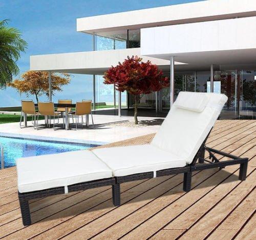 Outsunny Garden Outdoor Rattan Furniture Patio Sun Lounger