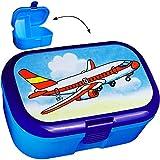 Unbekannt Lunchbox / Brotdose -  Flugzeug  - BPA frei - mit extra Einsatz / herausnehmbaren Fach - Brotbüchse Küche Essen - für Jungen - Helikopter / Hubschrauber - b..