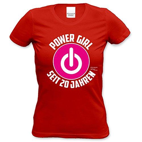 Geschenk für Frauen zum 20. Geburtstag Damen T-Shirt Geburtstagsgeschenk Geschenkidee Power Girl seit 20 Jahren für Powergirl Motiv: Power ZeichenFarbe: rot Rot