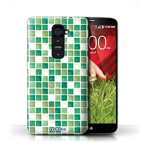Kobalt® Imprimé Etui / Coque pour LG G2 / Jaune/Marron conception / Série Carreau Bain Vert/Blanc