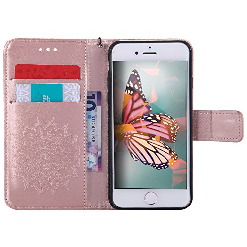 iPhone 8 Plus 5.5 Zoll Hülle Leder für iPhone 7 Plus,iPhone 8 Plus Hülle Rosa,iPhone 7 Plus Wallet Handytasche Blumen Hülle,iPhone 8 Plus Flip Cover Leder Etui Lederhülle Case,iPhone 7 Plus Hülle für  B Sunflower 3