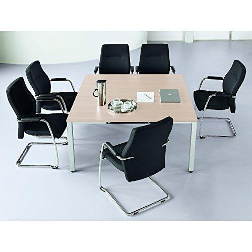 Konferenztisch, quadratisch - HxLxB 720 x 1400 x 1400 mm - Ahorn-Dekor - Besprechungstisch...