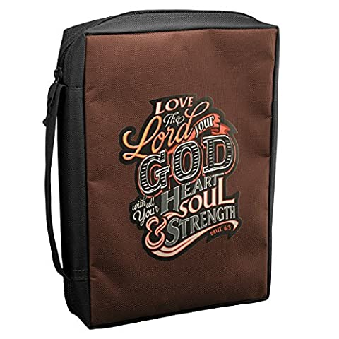 Bible Cover Brown Love Lord Your God Medium Value