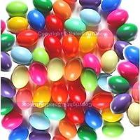 Gros lot de 50 Oeufs en plastique, coloris assortis, 6,5 cm de haut, idéal pour la chasse aux oeufs de pâques, non séparables