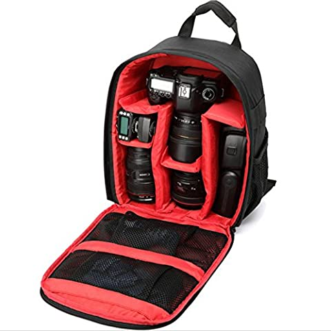 VOSMEP Kameratasche Kamerarucksack Wasserdichte Nylon Multi-Funktions Anti-Schock für DSLR Canon Nikon Sony EOS Olympus Samsung Pentax SLR Zubehör Fujifilm Reisen Fotografie Schwarz Rot DC3