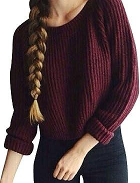 Mujer Las puntas abiertas Prendas De Punto Mangas Largas Suéter corto Vino rojo XL