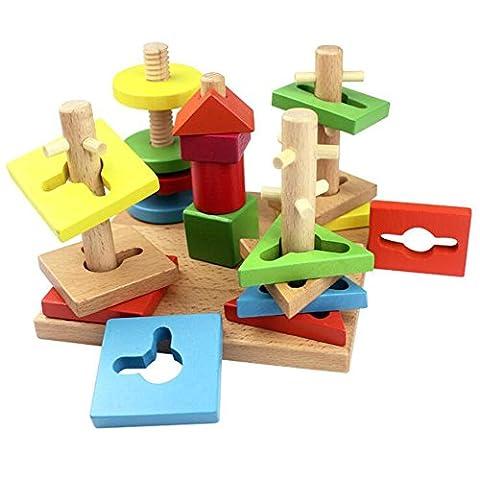hibote Forme et Couleurs Jigsaw Puzzle en bois Geometric Stacking Board Toys pour enfants Tout-petits