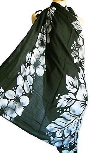 Preisvergleich Produktbild Schwarz mit weißen / grauen Hibiskusblüten Strand Tuch Sarong/ Pareo, Bademode Bedecken
