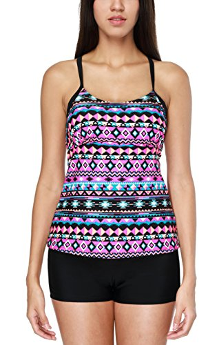 CharmLeaks Damen Elegant Tribal Farbdruck Oberteil + Hotpants Tankini Swimsuit Two Piece Strand Softcup Tankini Violett XL (Piece Two Swimsuit Tankini)