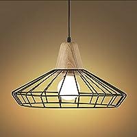 NIUYAO Lámparas de araña Forma Jaula Metal Vintage Iluminación de Techo Ajustable Estilo Loft Industrial Retro 1 Luz-Negro