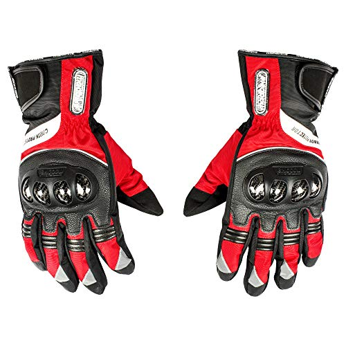 Autofy Madbike Carbon Protector Full Fingers Riding Gloves/Hand Gloves (Black, Red/XL)