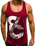 OZONEE Mix Herren Tanktop Tank Top Tankshirt T-Shirt Print Unterhemden Ärmellos Muskelshirt Fitness MAD/2463 Weinrot M