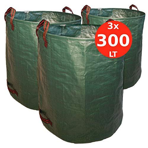 7doo set 3x 300 litri sacchi giardinaggio professionali di 2a generazione resistente sacco raccogli foglie attrezzatura giardino e giardinaggio bidone rifiuti raccolta erba in tessuto pp pieghevole