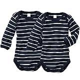 wellyou, 2er Set Kinder Baby-Body Langarm-Body, Marine-blau weiß gestreift, Geringelt, für Jungen und Mädchen, Feinripp 100% Baumwolle, Größe 50
