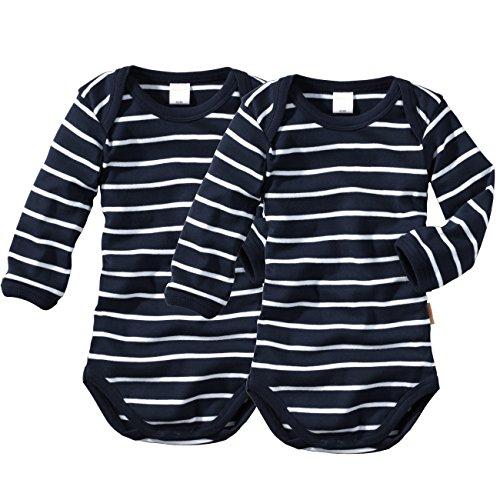 Produktbild wellyou,  2er Set Kinder Baby-Body Langarm-Body,  marine-blau weiß gestreift,  geringelt,  für Jungen und Mädchen,  Feinripp 100% Baumwolle,  Größe 116-122