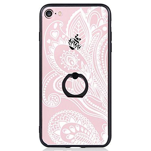Coque iPhone 7, TrendyBox Transparent Noir Givré Anti-rayures Rotation Bague Case pour iPhone 7 avec verre trempe film de protection (Dentelle Fleurs) 1012