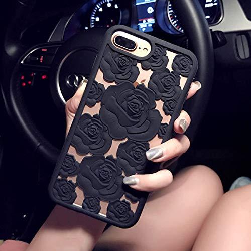 XMDSJKGC Hülle Handyhülle Art und Weise 3D Rosen-Höhle-Telefon-Kästen für iPhone X 8 7 6 6S Plusfall-Elegante Rosen-Blumen-Weiches Silikon TPU rückseitige Abdeckungs-Muschel, Schwarzes, für iPhone X