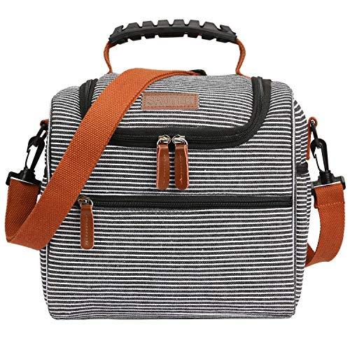 CoolBELL Lunchtasche Thermotasche Kühltasche Kühl Lunch Box Isolierte Essen Tasche Picknicktasche Großer Tote Bag Imbissbeutel für Frauen, Männer, Erwachsene, Nylon Schwarz-Weiß Riemen Essen Tote