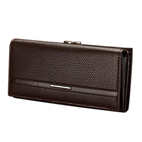 Donna portafoglio-All4you Signore solido bottone PU in pelle mano borsa lunga frizione portafogli portamonete (nero) Marrone
