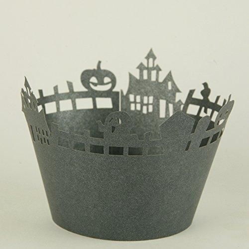 24 Stk Cup Cake Wrapper zur Dekoration der Muffinförmchen – Geister Schwarz