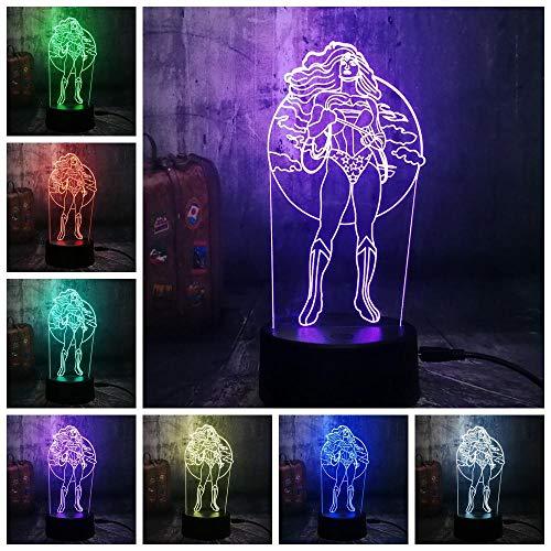 Zcmzcm 3D Nachtlichter Neue Nachtlichter Coole Frau Superheld 3D Led Rgb 7 Farbwechsel Tischlampe Usb Kind Kind Geschenk Weihnachten Wohnkultur