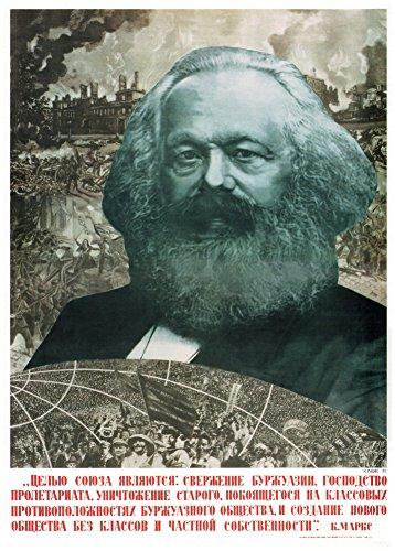 Poster 'Karl Marx', Zitat auf Russisch, Propaganda Russland / Sowjetunion, 250g/qm, glänzend,...