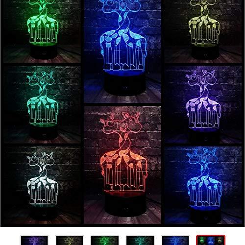 Nachtlicht Doppel Giraffe 3D Tier LED7 Farbe USB Basis Baby Schlafzimmer Dekor Geschenk -