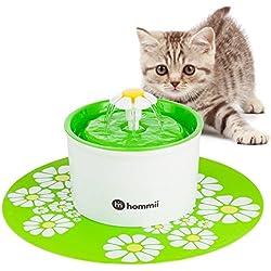 Hommii Gato/Perro Silencio Flor Fuente de Agua 1.6 L Eléctrico Automático para Mascotas Filtro Con alfombra