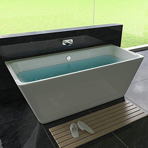 Freistehende Badewanne Weiß Badewanne 170 x 75 cm Sanitäracryl Badewanne ohne Armatur Badezimmer