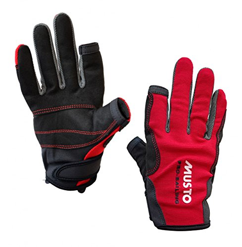 Musto Essential Sailing Long Finger Gloves in RED AS0803 Sizes- - Small