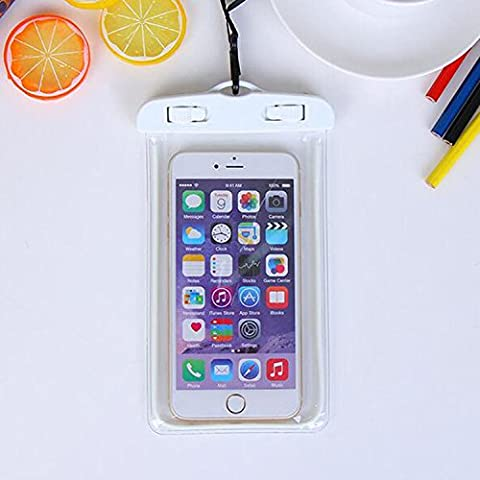 For Imperméable Phone Case,Maetek PVC Lumineux Case Cover Imperméable Cell Phone Sac à sac sec for Smartphone up to 6 inches-White