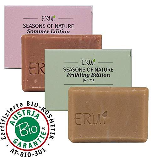 ERUi® 2x Bio Naturseife Set Frühling & Sommer Edition, Handgemachte Bio Seife vegan, Speziell für Haut und Haare, 100% biologisch abbaubare Bioseife ohne Palmöl, Zusätze & Duftstoffe (2 x 55 g)