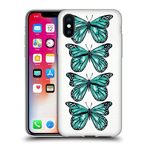 Ufficiale Cat Coquillette Nero oro Scorpione Insetti Cover Morbida In Gel Per Apple iPhone 6 Plus / 6s Plus Farfalle turchese